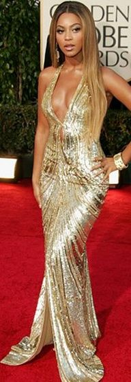 Beyoncé Knowles, in Elie Saab gold dress. #Dresses…