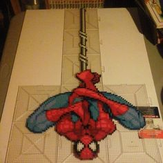 """""""Spiderman WIP Hama and Perler beads by Sulley45635 on deviantART"""" Oh wow I want to do this!"""