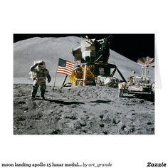 moon landing apollo 15 lunar module nasa 1971 card