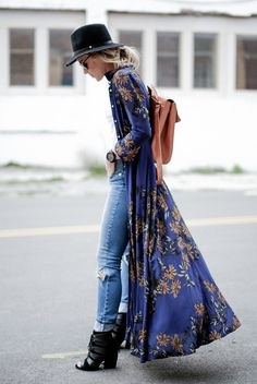 spring / summer - street style - street chic style - summer outfits - fall / winter - fall outfits - festival outfits - boho chic style - casual outfits - blue floral print dress + skinny jeans + black heeled booties + black fedora + brown backpack + white tank top