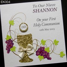 Handmade Communion Greeting Card was adorned with the Host and chalice. In the background was covered with vines and clusters of grapes, symbols of the blood of Jesus Christ. On a card could not miss inscriptions with the name of your child joining the Holy Communion and the date of the ceremony. http://www.handmadecards24.co.uk/product/first_holy_communion_grapes_vine
