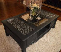 Ana Simpson of Dallas' Anabella Designs used the Hollywood Squares Stencil to add fab pattern oomph to this table! Definitely NOT your basic black!