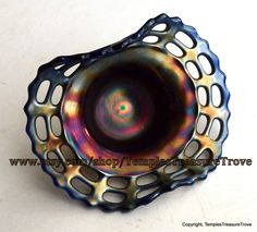 Fenton Cobalt Blue Blackberry Basket Carnival Glass Basket Weave Bowl Open Edge Iridescent Vintage Lattice Edge Rare Bowl Cobalt Blue Glass    Absolutely STUNNING Fenton deep iridescent cobalt glass blackberry bowl with basket weave pattern around the outer based topped with open lattice work fluted edges. I got this piece a number of years ago at an estate auction. From doing some intensive research it seems this piece dates back to circa 1907 to 1920. NO fleabites, NO cracks, and NO…