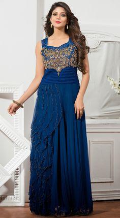 USD 122.40 Navy Blue Net Designer Gown 48243