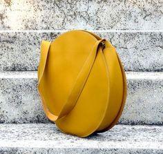 Mustard yellow tote bag circle bag leather handbag by BogaBag, $95.00