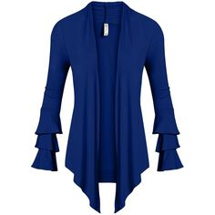 Simlu Womens Open Front Cardigan Sweater Ruffle Long Sleeve Cardigan... (67 ILS) ❤ liked on Polyvore featuring tops, cardigans, ruffle long sleeve top, long sleeve open cardigan, long sleeve cardigan, ruffle trim cardigan and ruffle trim top