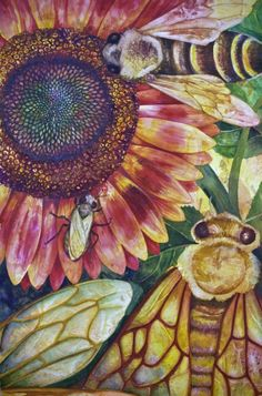 Sunflower and Bee Art Inspiration for applique Art Et Illustration, Illustrations, I Love Bees, Sunflower Art, Ouvrages D'art, Insect Art, Bee Art, Bee Happy, Bees Knees