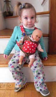 Ideas crochet baby carrier pattern tutorials for 2019 Baby Doll Clothes, Doll Clothes Patterns, Doll Patterns, Baby Dolls, Sewing For Kids, Baby Sewing, Diy Doll Carrier, Sewing Stuffed Animals, Joelle