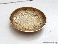 Vtg small brass BOWL RING HOLDER dish ashtray small collectible india plate little dish vintage brass bowl for wedding rings gift N10/889
