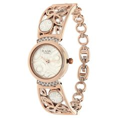 Shop Online for Titan Raga Essentials White Dial Analog Watches ID for Women with Rose Gold Strap, Round Shap and Metal Material of 3 ATM Water Resistance Watch. Buy @ Titan E-Store Elegant Watches, Stylish Watches, Bangles, Bracelets, Analog Watches, Pocket Watch, Bracelet Watch, Jewelry Accessories, Rose Gold