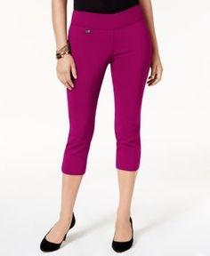 Alfani Petite Tummy-Control Pull-On Capri Pants, Created for Macy's - Pink 14P