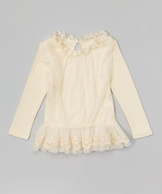Another great find on #zulily! Ivory Lace Skirted Tunic - Toddler & Girls #zulilyfinds
