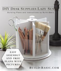 Build this easy DIY Desk Supplies Lazy Susan for under $20! Free Building Plans by @BuildBasic www.build-basic.com
