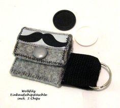 * ♥Einkaufschip-Täschchen Moustache♥ Wollfilz + 2 Chips mit Schlüsselring        Druckknopfverchluss     *Es gibt auch einen passende Schlüsselanhä...