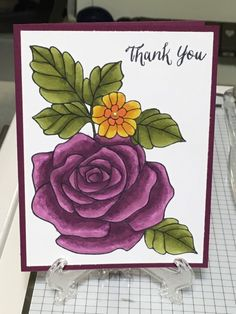 Purple Rose Thank You by harleygirl50 - Cards and Paper Crafts at Splitcoaststampers