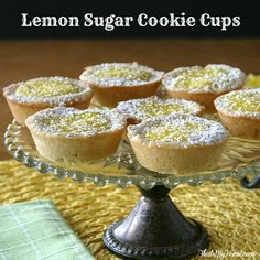 Lemon Sugar Cookie Cups made with a lemon sugar cookie base and a lemon cream filling. Sweet and tart at the same time. from That's My Home  #lemoncookiecups #lemonrecipes #cookierecipes