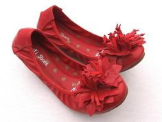 FLUER RED LEATHER FLATS