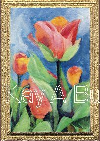 Miniature Flower Themed Dolls house Paintings - Original and reproduction dolls house paintings House Painting, Tulips, Are You Happy, Original Paintings, Miniatures, Make It Yourself, Colour, Dolls, The Originals