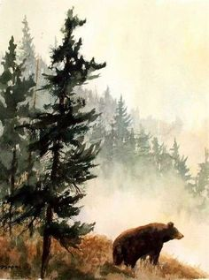 Watercolor tattoo - Black Bear Mountains Wildlife Nature Fine Art Watercolor Collector Print - malerei - New Watercolor Art Aquarelle, Art Watercolor, Watercolor Animals, Simple Watercolor, Watercolor Landscape Paintings, Watercolor Tattoos, Art Et Nature, Wildlife Nature, Nature Animals