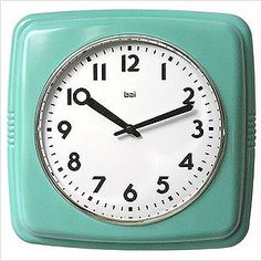 Retro Turquoise Inch Square Wall Clock Bai Design Wall Mounted Clock Clocks Home Decor Murs Turquoise, Turquoise Walls, Turquoise Kitchen, Turquoise Cottage, Turquoise Color, Color Red, Azul Tiffany, Tiffany Blue, Modern Clock
