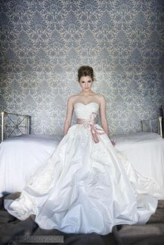 Empire Sweetheart Floor-Length Court Flowers & Sash Wedding Dress.