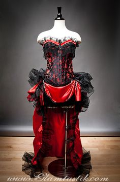 Size Medium Red and Black BUrlesque Saloon Costume by Glamtastik, $399.00