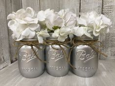 Shabby Chic Silver MASON JARS Painted Mason Jars by BowtiqueBurlap