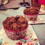 Banana Pumpkin Muffins (8x8 dish, garbanzo beans, half buckwheat/half spelt flour, mixed in raisins and chopped banana)