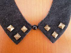 Colletto-Bijoux in denim con borchie #3