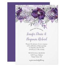 Ultra Violet Lavender Gray Floral Wedding Invite - floral style flower flowers stylish diy personalize #weddinginvitation