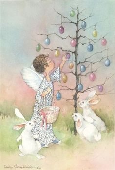 Vintage postcard of fairy girl picking Easter eggs with the rabbits watching