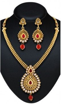 Women's Gold Color Moti Work Artificial Traditional Jewellery Necklaces Set | FH532480457 Follow us @heenastyle  #Necklace #onlineshopping #necklaceset #forsale #gold #artificial #goldplated #designs #fashion #jewelry #fashionjewellry #accessories #womenfashion #pendentset #earing #jumkis #bangle #bracelets #mangalsutra #tikka #headpieces #handbags #cluethesbeg #ring #indianfashion #fashionista #anklets #bridelset #weddingset #dimondset #brass #metal #heenastylenecless #heenastyle