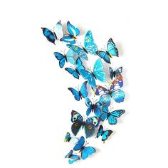 DIY Wall Art - 12 Piece 3D Butterfly Wall Stickers Artful Home Decals or for Party Decorations! Place on Refrigerator! Please Allow 3to 4Weeks for Delivery Pa