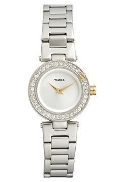 Timex® 'Starlight' Crystal Bezel Bracelet Watch, 24mm available at #Nordstrom