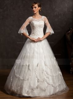 Wedding Dresses - $222.99 - Ball-Gown V-neck Floor-Length Satin Tulle Wedding Dress With Lace Beadwork (002015168) http://jenjenhouse.com/Ball-Gown-V-Neck-Floor-Length-Satin-Tulle-Wedding-Dress-With-Lace-Beadwork-002015168-g15168