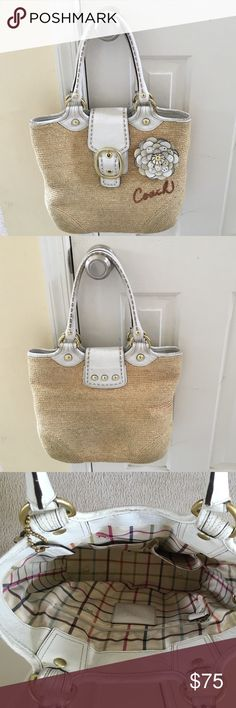Coach Bleecker Straw Tote Coach Bleecker Straw Tote 11798. Smoke free home. It does have some wear on the leather and straw consistent with use, but still is very cute! 12 in high, 14 in wide, 4 in deep. Coach Bags Shoulder Bags