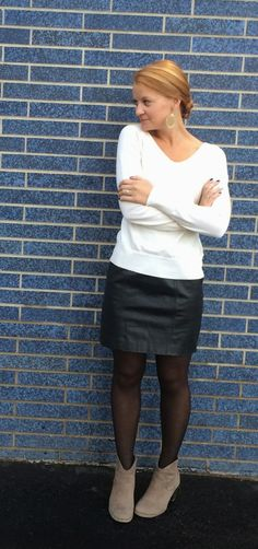 Sweet Bananie - cream v-neck sweater, #thrifted #leather skirt, #herringbone print tights and taupe ankle booties