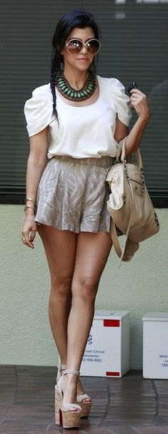 Not digging the necklace or the shoes.....but I love the high waisted shorts!