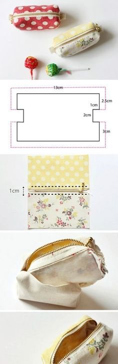 Mini Zippered Coin Purse Tutorial - Best Sewing Tips Sewing Tutorials, Sewing Crafts, Sewing Projects, Bag Tutorials, Purse Patterns, Sewing Patterns, Tote Pattern, Wallet Pattern, Coin Purse Tutorial