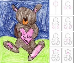 How to draw a Teddy Bear. Art Projects for Kids