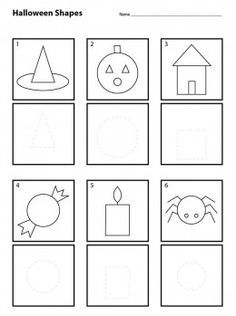 Halloween Shapes for Pre-K. Students copy the top drawing in the bottom box. The main shape is already there is a light dashed line.