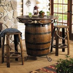 Barrel repurposed into table for rustic kitchen look