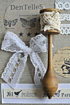 bits of lace + vintage wooden bobbin spool