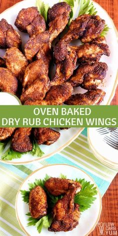 Spicy Dry Rub Chicken Wings – Oven Baked Recipe Tired of wings drenched it hot sauce? This recipe for spicy dry rub chicken wings uses a seasoned blend of ground dried peppers instead. via Low Carb Yum Chicken Wing Seasoning, Dry Rub Chicken Wings, Chicken Wings Spicy, Oven Chicken, Chicken Wing Recipes, Dry Rub For Wings, Marinade For Chicken Wings, Low Carb Chicken Wings, Wings In The Oven
