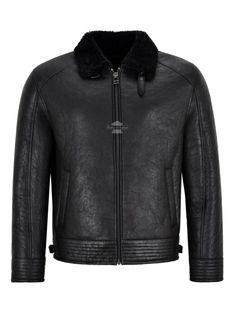 Men/'s Pilot Leather Jacket Brown Fur Collar Aviator Classic Real Lambskin 1169