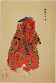 "Tsukioka Kogyo  Japanese, 1869-1927    Shôjô, from the series ""One Hundred No Dramas (Nogaku hyakuban)"", 1898-1903    Color woodblock print.  The Art Institute of Chicago"