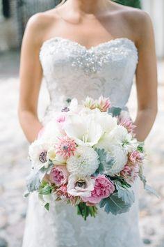 Tulips, Dahlias, Anemones, Roses and Lamb's Ear in Pastel Hues | Aaron & Jillian Photography | Theknot.com