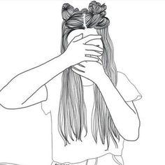 Tumblr Girl Drawing, Tumblr Drawings, Tumblr Art, Girl Drawing Sketches, Girly Drawings, Girl Sketch, Tumblr Girls, Cool Drawings, Girl Outlines
