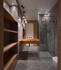 Amazing Bathroom Design with Wooden Floating Sink