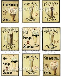 decoupage paper,collage sheet,vintage fruit and food,vintage signs, hot fudge,root beer, malt